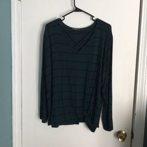 Striped Shirt with Cross Detail